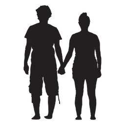 Hand holding couple silhouette