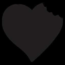 Coração com silhueta de mordida