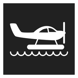 Helicopter in water square icon