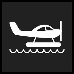 Icono de helicóptero en el agua icono cuadrado