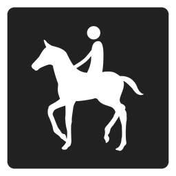 Icono cuadrado de montar a caballo