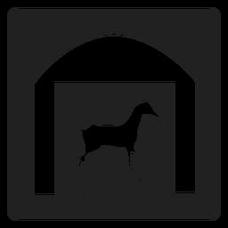 Pferd in einem stabilen quadratischen Symbol