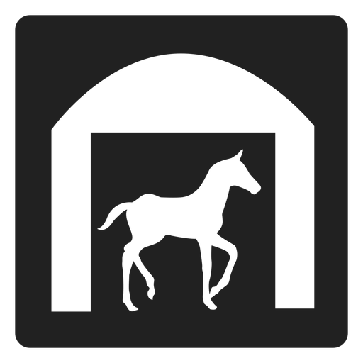 Horse in a stable square icon
