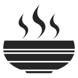 Tazón de sopa caliente icono plana