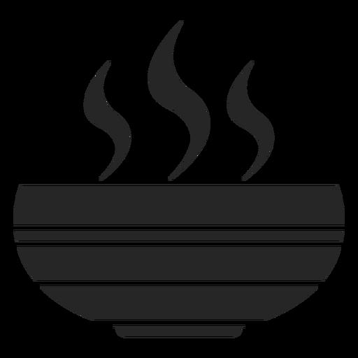Icono plano de tazón de sopa caliente