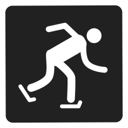 Ice skating square icon skating