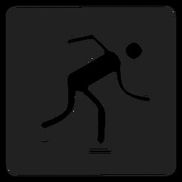 Patinaje sobre hielo icono cuadrado patinaje