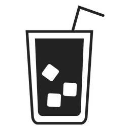 Ice tea glass flat icon