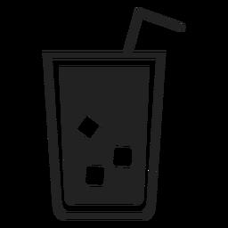 Ícone plana de vidro de chá gelado