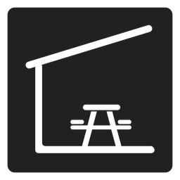 Icono de mesa de picnic y silla de interior