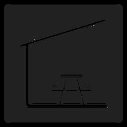 Mesa de piquenique coberta e cadeira ícone quadrado