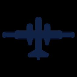 Silhueta de vista superior do avião a jato