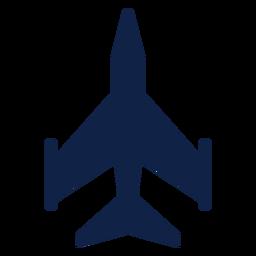 Silueta de vista superior de avión de combate ligero