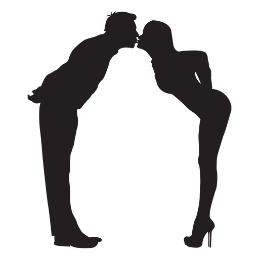 Lover cute kiss silhouette Transparent PNG