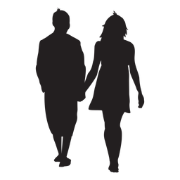 Lovers holding hand silhouette