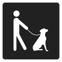 Man and a dog square icon