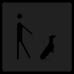 Mann und ein Hund Quadrat Symbol
