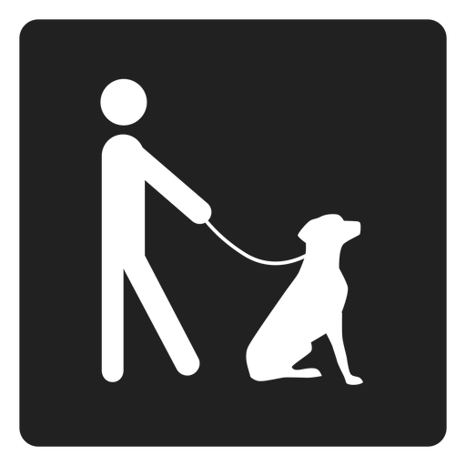 Man and a dog square icon Transparent PNG