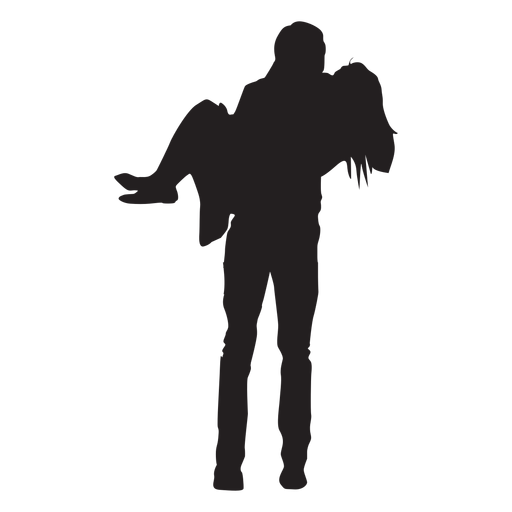 Man carrying woman silhouette