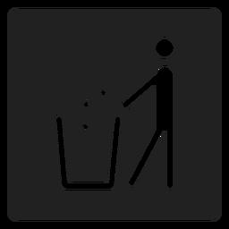 Hombre tirando basura icono cuadrado