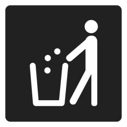 Man throwing trash square icon