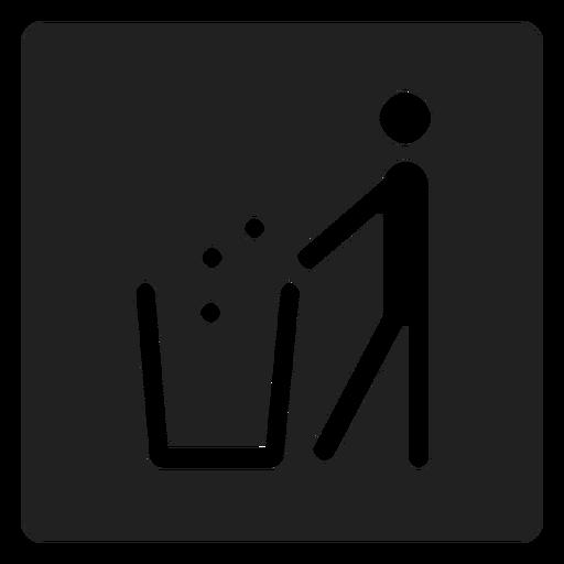 Man throwing trash square icon Transparent PNG