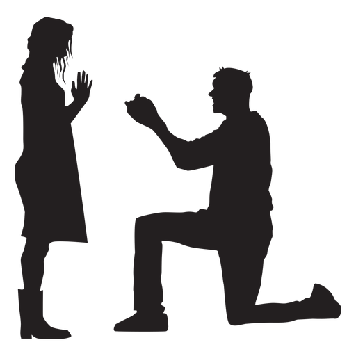 Marriage proposal silhouette Transparent PNG