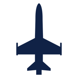 Military aircraft top view silhouette