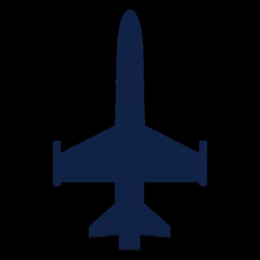 Silueta de vista superior de avión militar