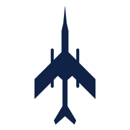Military plane top view silhouette