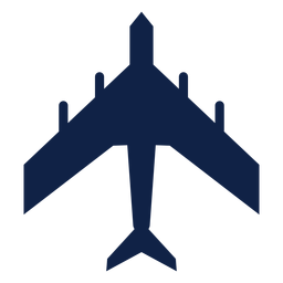 Military transport airplane top view silhouette