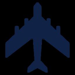 Silhueta de vista superior de avião de transporte militar