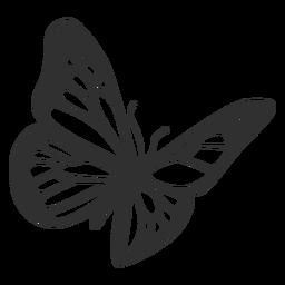 Silhueta de voar de borboleta monarca