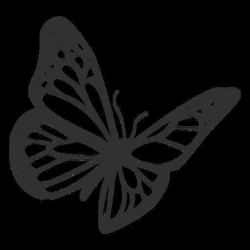 Mariposa monarca volando silueta