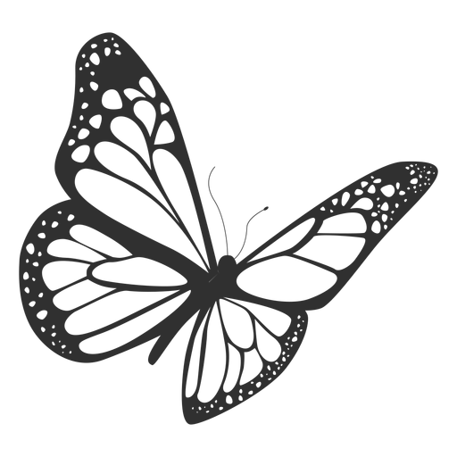 Monarch butterfly flying silhouette