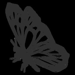 Silhueta de vista lateral de borboleta monarca