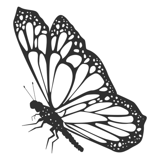 Mariposa monarca vista lateral silueta