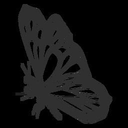 Mariposa monarca todavía silueta