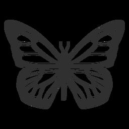 Mariposa monarca vista superior silueta