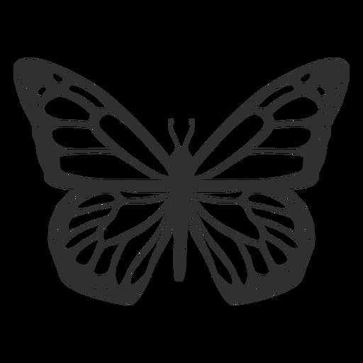 Mariposa monarca vista superior silueta Transparent PNG