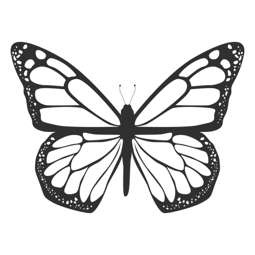 Monarch butterfly top view silhouette Transparent PNG