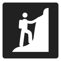 Mountain climbing square icon