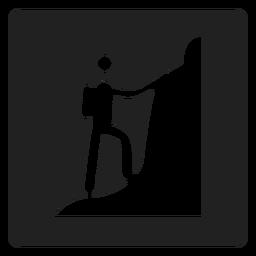 Mountain climbing square icon