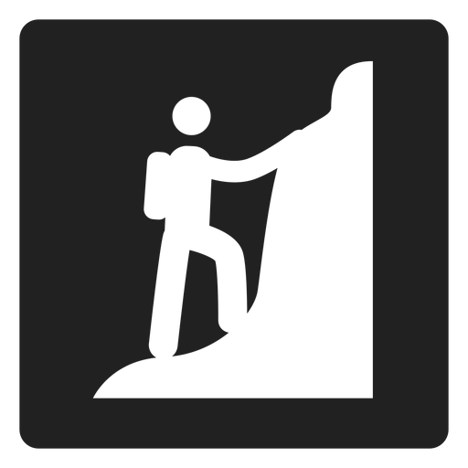 Mountain climbing square icon Transparent PNG