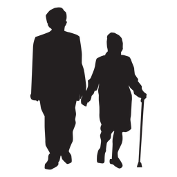 Old couple silhouette couple