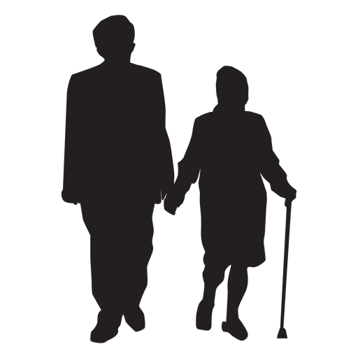 Old couple silhouette couple Transparent PNG