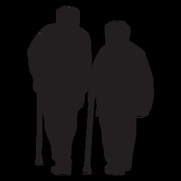 Altes Paar mit Stockschattenbild