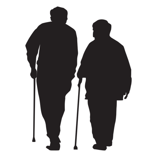 Old couple with cane silhouette Transparent PNG