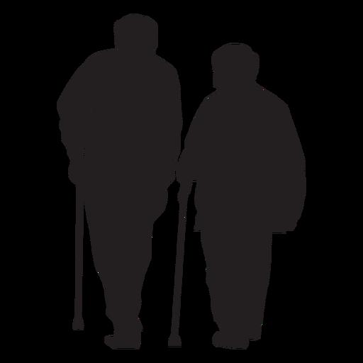 Pareja de ancianos con silueta de caña Transparent PNG