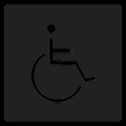 Person mit Behinderung quadratisches Symbol